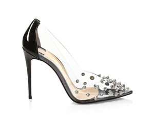 Christian Louboutin Spike Studded Pvc Patent Leather Black/Silver Pumps
