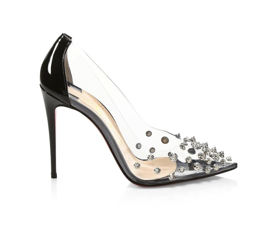 purchase cheap 1ff3e 67e15 Christian Louboutin Black/Silver Collaclou 100 Pvc Spiked Studded Pumps  Size EU 37.5 (Approx. US 7.5) Regular (M, B) 23% off retail