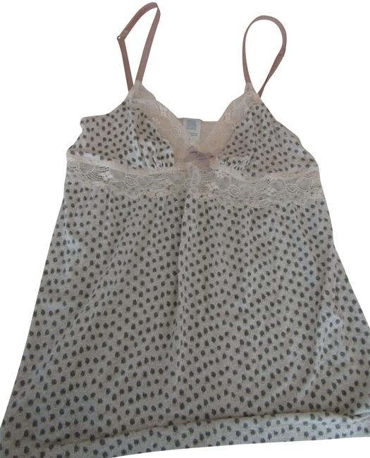 Item - Cream/Tan Romantic Camisole Great Print with Lace Accents Medium Tank Top/Cami Size 8 (M)