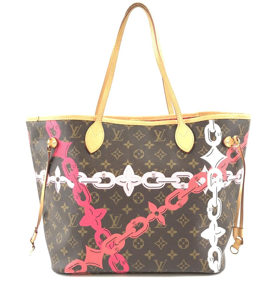 502abb0681f Louis Vuitton Neverfull Neo #31167 Limited Edition Classic Mm Tote Work  Monogram Poppy Rose Ballerine Color with Print Of Spring/Summer 2016  Tropical ...