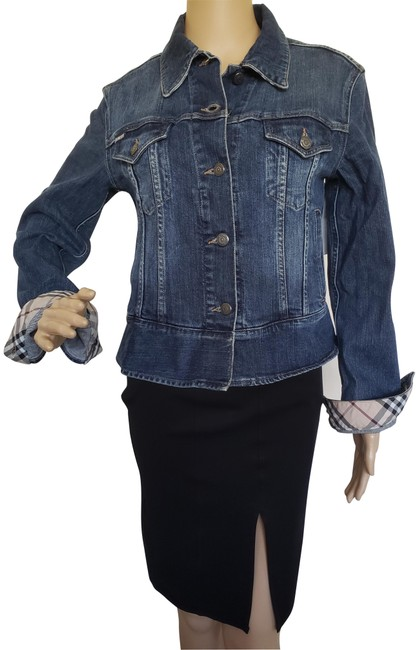 Item - Blue Light Wash London Nova Check Trim Jean Jacket Size 10 (M)