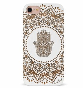 Case Yard Cherry Wood White iPhone Case with Hamsa Hand, iPhone X