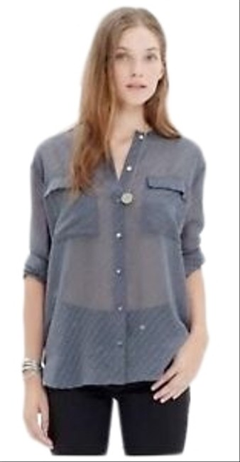 Item - Gray Ice Leaf Swiss Dot Blouse Button-down Top Size 2 (XS)