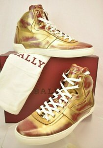 Bally Gold Eroy Red Brushed Leather Logo Hi Top Lace Up Sneakers Us 11 Shoes