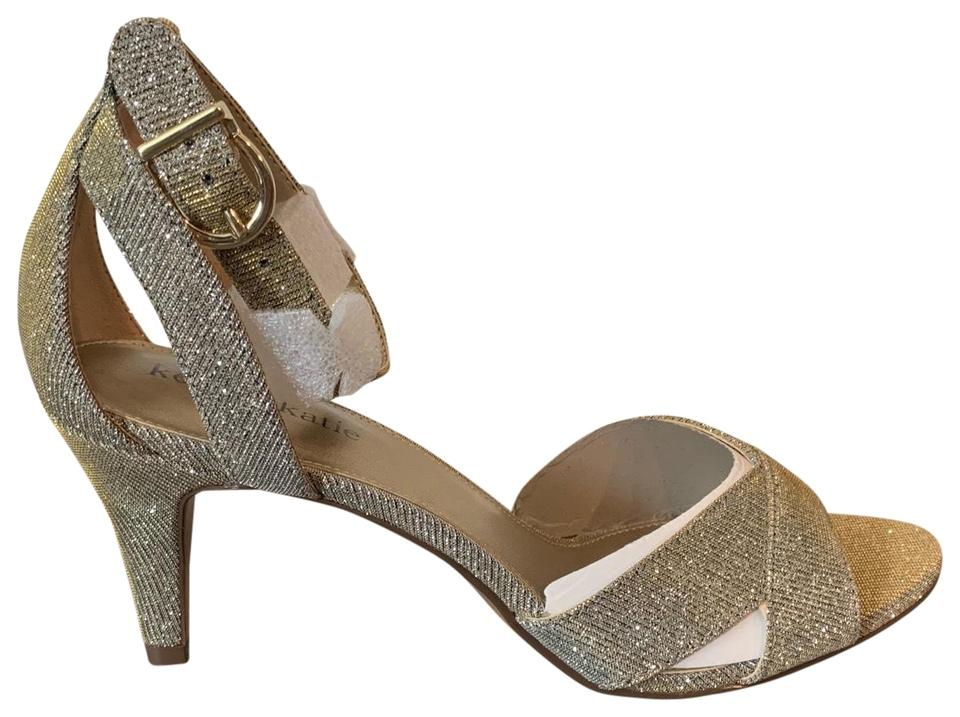 Kelly \u0026 Katie Gold with Glitter Accents Heels Formal Shoes Size US 8.5  Regular (M, B)