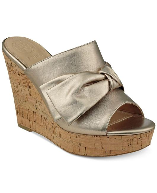 Item - Gold Womens Hotlove Leather Open Toe Casual Sandals. Platforms Size US 6 Regular (M, B)