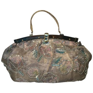 Fendi Silk Organza Hand Embroidered Hand Beaded Beaded Tote in gray