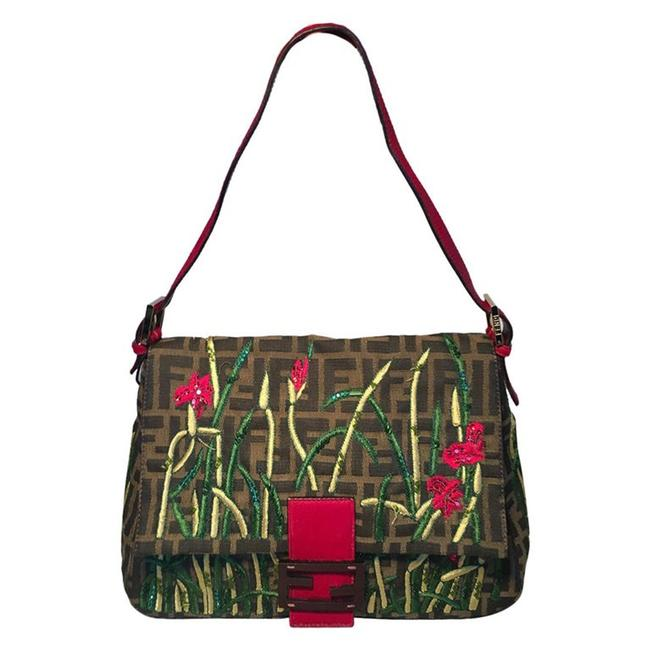 Item - Floral Embroidered Beaded Monogram Zucca Print Brown Canvas Baguette