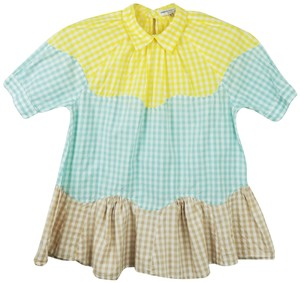 Opening Ceremony Gingham Peplum Peter Pan Collar Top Colorful