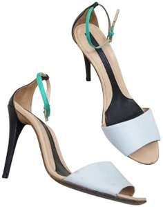 Narciso Rodriguez Strappy Ankle Strap Two Tone Leather White Black Sandals
