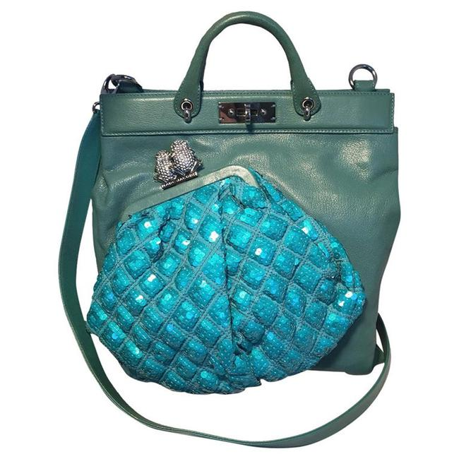 Item - Seafoam and Sequin Small Duffy Frog Green Leather Tote