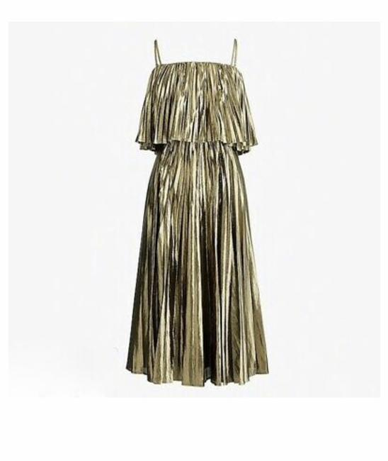 Item - Gold Collection Pleated Midi In Lame Mid-length Cocktail Dress Size 6 (S)