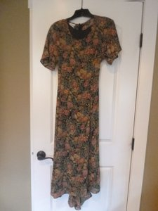 Floral on black Maxi Dress by Casual Corner Light Shortsleeved Polyester
