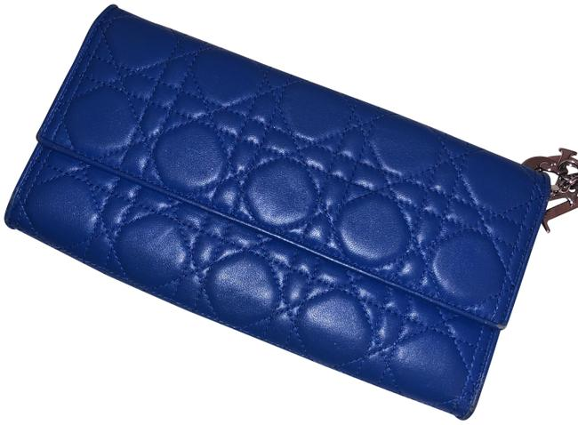 Item - Lady Christian Cannage Convertible Cobalt Blue Lambskin Leather Clutch