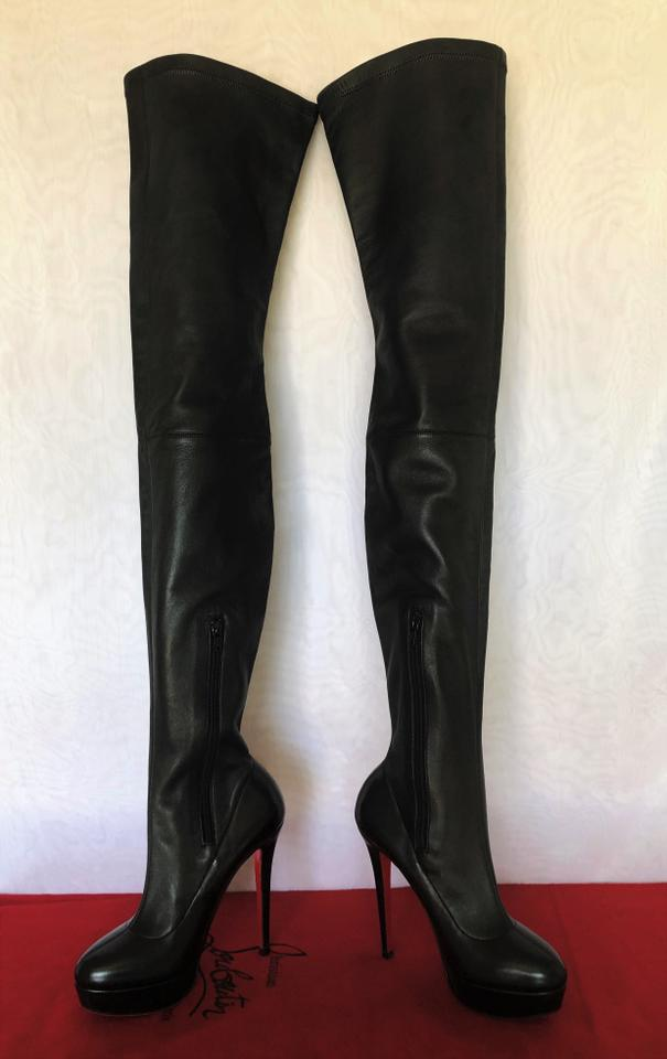 34baa9599d4 Christian Louboutin Black Gazolina Leather Platform Thigh High Over Knee  Heel Red Sole Lady Zip Boots/Booties Size EU 38 (Approx. US 8) Regular (M,  B)