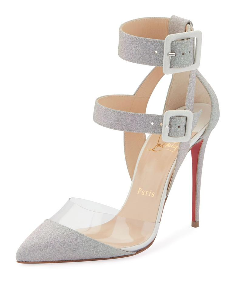 various colors a79a8 26f04 Christian Louboutin Gray Silver Multimiss 100 Pvc Glitter Ankle Strap  Buckle Pumps Heels Sandals Size EU 41 (Approx. US 11) Regular (M, B) 30%  off ...