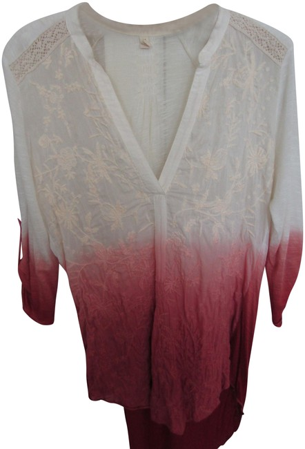 Item - Cream To Rust Ombre L Anthropology Colored Embroidered By Nwot Blouse Size 12 (L)
