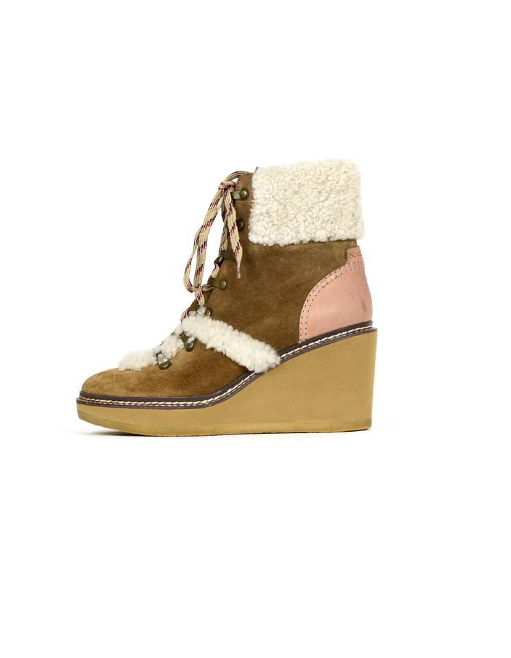 ed2b059d848 See by Chloé Tan Shearling-lined Wedge Hiker Boots/Booties Size EU 39  (Approx. US 9) Regular (M, B) 50% off retail
