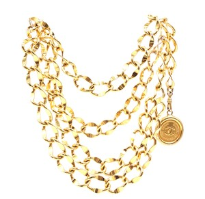 Chanel CC wide double chain gold necklace belt two way medallion charm