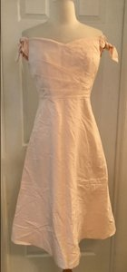 J.Crew Pink Cotton/Silk Tall Off-the-shoulder Strapless Ties In Faille. T6 Feminine Bridesmaid/Mob Dress Size 6 (S)
