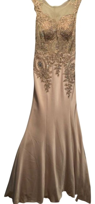 Item - Champagne Couture 4507 Multi-crystal Beaded Sheer Scoop Neck Scoop Illu Long Formal Dress Size 2 (XS)