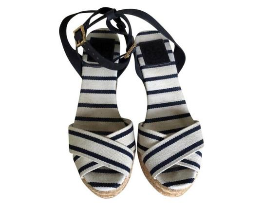 Tory Burch navy and white Wedges Image 1