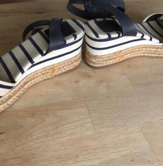 Tory Burch navy and white Wedges Image 3