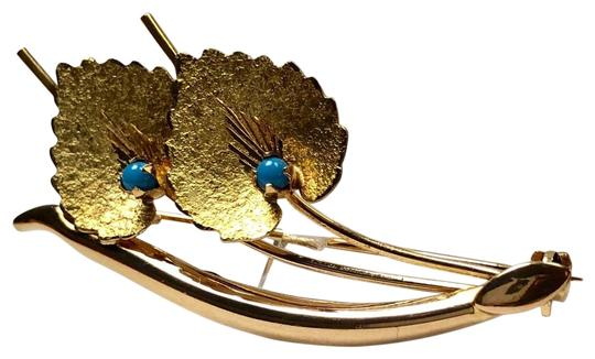 Other Branch w/Leaves Persian Turquoise Pin Brooch, Italy c.1944-1968 Image 0