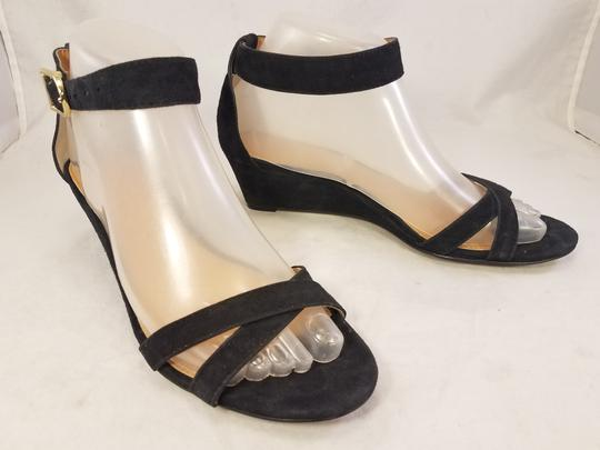 J.Crew Woman Wedges Woman Size 7 Suede black Sandals Image 2