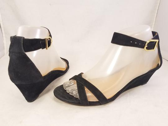 J.Crew Woman Wedges Woman Size 7 Suede black Sandals Image 4