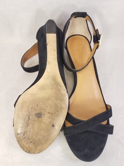 J.Crew Woman Wedges Woman Size 7 Suede black Sandals Image 7
