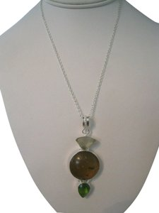 Other ARTISAN PREHNITE, GREEN QUARTZ AND AMBER NECKLACE NEW