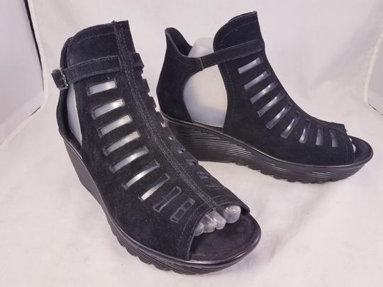 Skechers Woman Wedges Woman Size 8 Suede Suede black Sandals Image 1