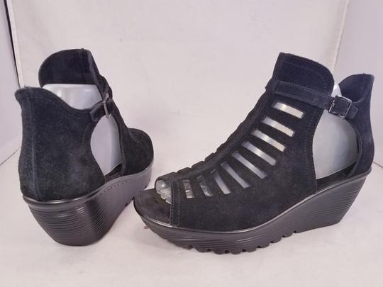 Skechers Woman Wedges Woman Size 8 Suede Suede black Sandals Image 4