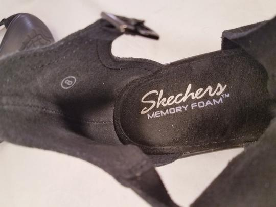 Skechers Woman Wedges Woman Size 8 Suede Suede black Sandals Image 8