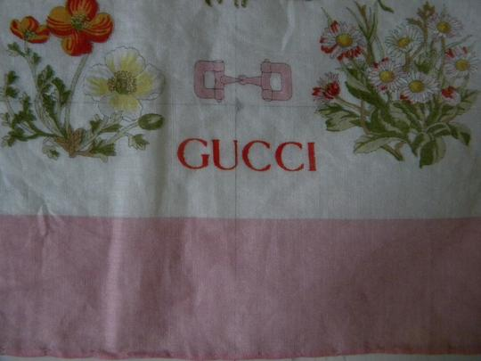 Gucci Rare Vintage Gucci Flower Posy Buckle 100% Cotton Neck Scarf Image 2