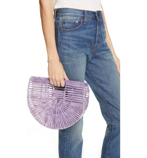 Cult Gaia Acrylic Clutch Tote Cut-out Satchel in Purple Image 2