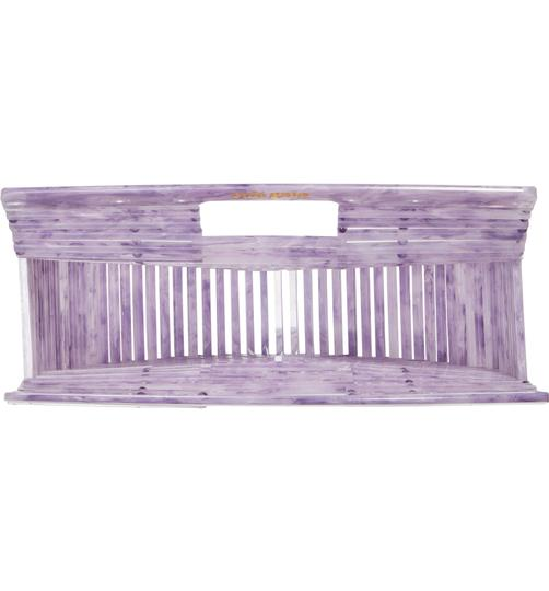 Cult Gaia Acrylic Clutch Tote Cut-out Satchel in Purple Image 5
