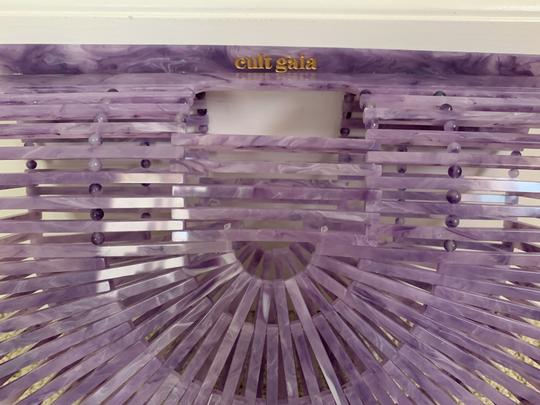 Cult Gaia Acrylic Clutch Tote Cut-out Satchel in Purple Image 8