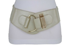 Alwaystyle4you Women Elastic Gold Champagne Belt Hip Waist Metal Hook Buckle L XL