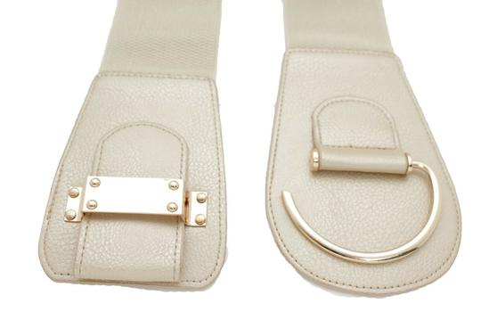 Alwaystyle4you Women Elastic Gold Champagne Belt Hip Waist Metal Hook Buckle L XL Image 1