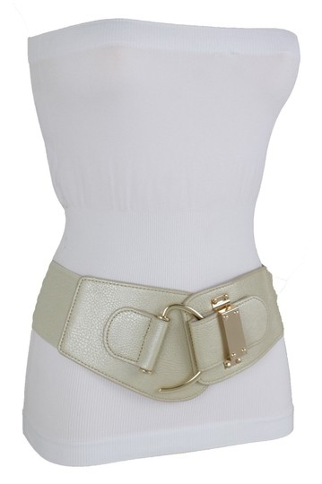 Alwaystyle4you Women Elastic Gold Champagne Belt Hip Waist Metal Hook Buckle L XL Image 2