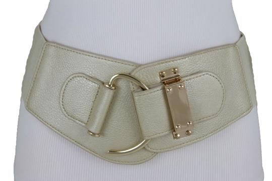 Alwaystyle4you Women Wide Elastic Gold Champagne Belt Hip Waist Metal Hook Buckle S M Image 1
