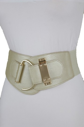 Alwaystyle4you Women Wide Elastic Gold Champagne Belt Hip Waist Metal Hook Buckle S M Image 10