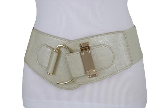 Alwaystyle4you Women Wide Elastic Gold Champagne Belt Hip Waist Metal Hook Buckle S M Image 2