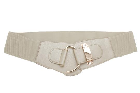 Alwaystyle4you Women Wide Elastic Gold Champagne Belt Hip Waist Metal Hook Buckle S M Image 3