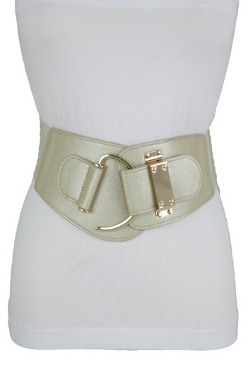 Alwaystyle4you Women Wide Elastic Gold Champagne Belt Hip Waist Metal Hook Buckle S M Image 5
