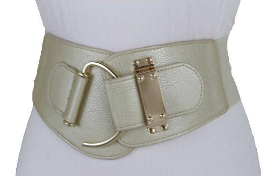 Alwaystyle4you Women Wide Elastic Gold Champagne Belt Hip Waist Metal Hook Buckle S M Image 6