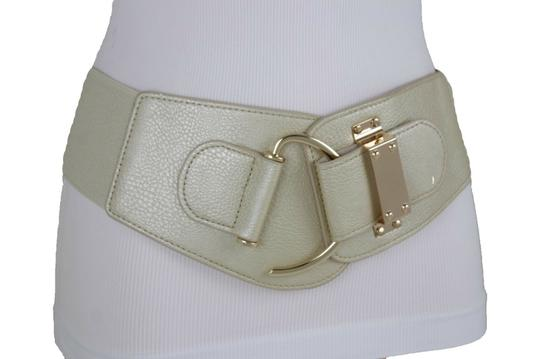 Alwaystyle4you Women Wide Elastic Gold Champagne Belt Hip Waist Metal Hook Buckle S M Image 8