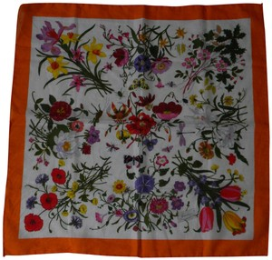 Gucci Gucci Flora 100% Cotton Scarf, white with orange border